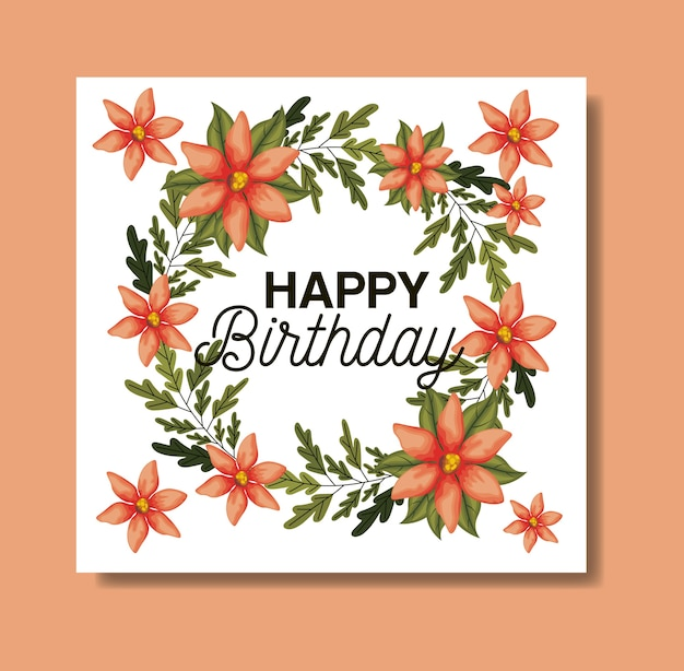 Birthday party card with floral frame
