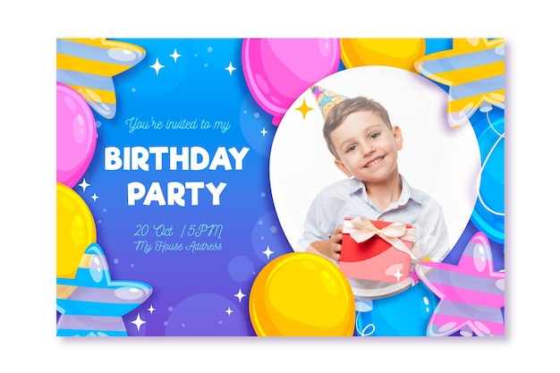 Birthday party card with photo