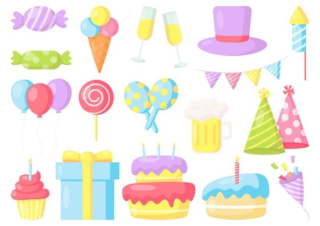 День рождения праздник карнавал праздничные предметы на белом фоне