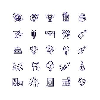 Birthday party celebration fun line vector icons