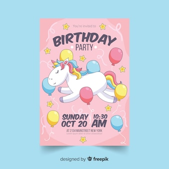 Birthday party colorful invitation