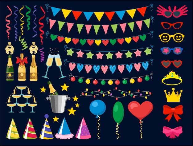 Birthday party design elements. birthday party collection