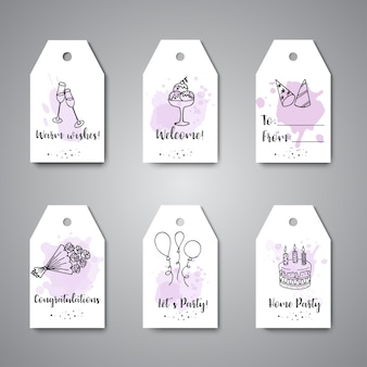 Birthday party doodle gift tags.