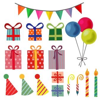 Birthday party element set balloon present box