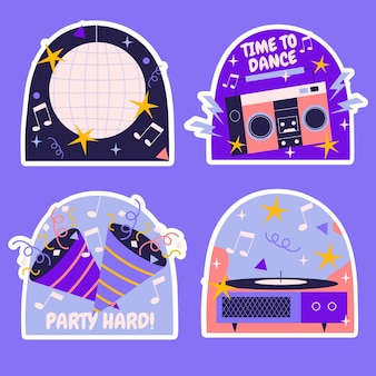 Birthday party elements illustration set