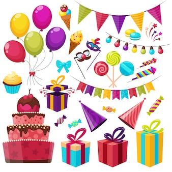 Insieme di elementi di festa di compleanno
