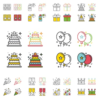 Birthday party flat simple line icons set.