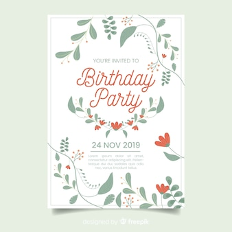 Birthday party floral template invitation