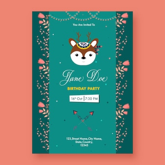 Birthday party flyer design with cartoon reindeer face and event details in green color.