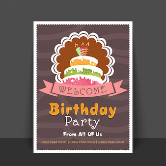Birthday party greeting card or welcome card design with illustration of colorful cake, vintage style vector illustration. Free Vector