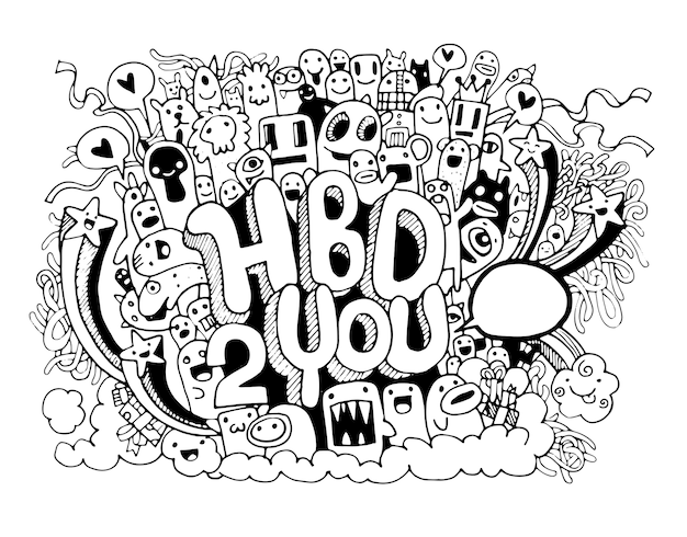 생일 파티 손으로 그린한다면 요소 배경