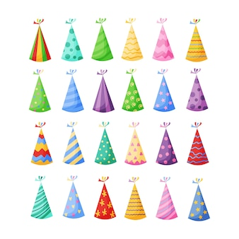 Birthday party hats set in a cartoon flat style