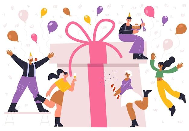 День рождения праздник празднования людей и огромная подарочная коробка. ваши радостные празднования людей с конфетти и воздушными шарами векторные иллюстрации. с днем рождения празднование. подарок на день рождения и подарок