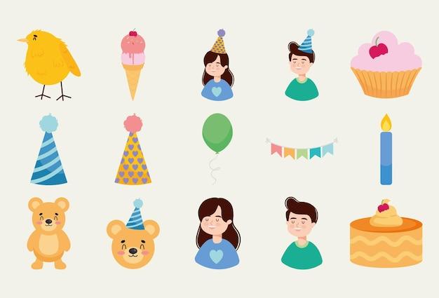 Birthday party icon set design