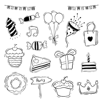 Birthday party icons collection with donut, slice cake and cupcake