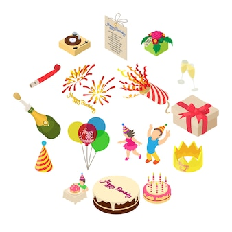 Birthday party icons set, isometric style