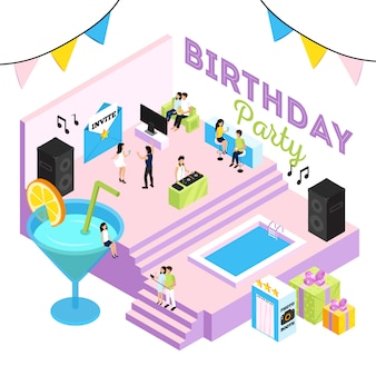 Birthday party illustration with cocktail lounge interior swimming pool acoustic systems and people dancing to dj