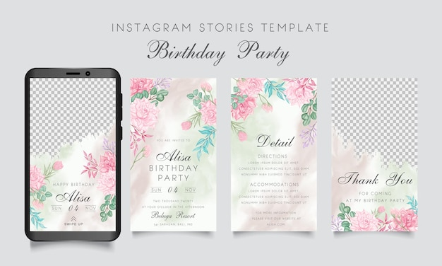 Birthday party instagram stories template with watercolor floral frame