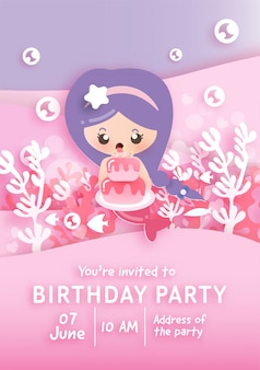 Birthday party invitation card template with cute little mermaid holding cake under the ocean .