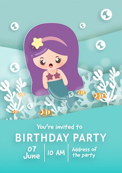 Birthday party invitation card template with cute little mermaid under the ocean .