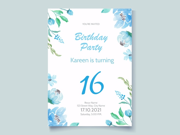 Birthday party invitation card with blue floral