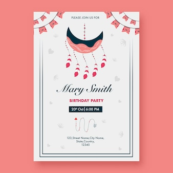 Birthday party invitation card with crescent moon shaped dreamcatcher in white color.