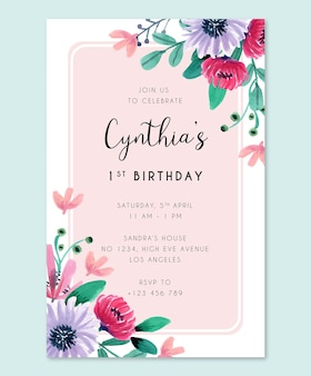 Birthday party invitation card with pink and violet watercolor flowers