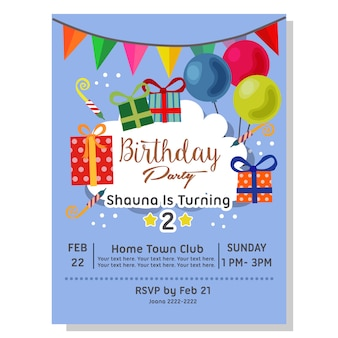 Birthday party invitation card with present box