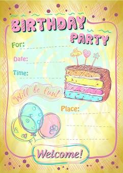 텍스트를 위한 생일 파티 초대 전단지 모형 복사 공간