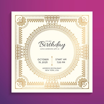 Birthday party invitation in gold color