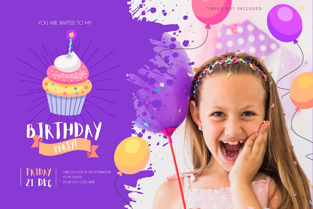 Birthday party invitation for kids with funny cupcake