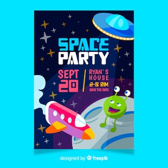 Birthday party invitation for little boy with space theme
