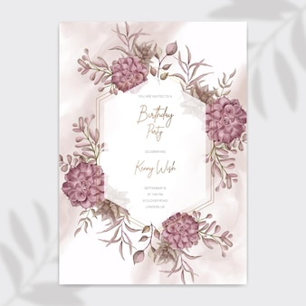 Birthday party invitation poster template with watercolor succulent floral frame