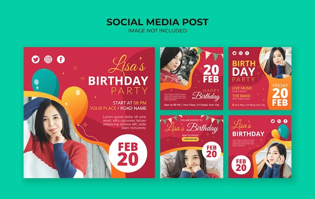 생일 파티 초대장 소셜 미디어 instagram 게시물 템플릿