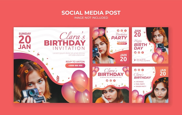 생일 파티 초대장 소셜 미디어 게시물 디자인 서식 파일
