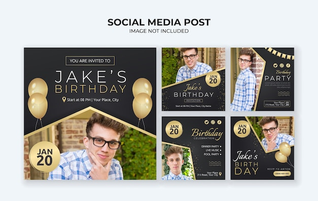 생일 파티 초대장 소셜 미디어 게시물 템플릿