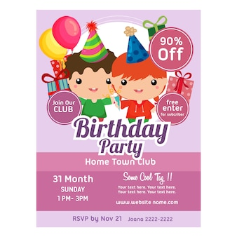 Birthday party invitation template cute kids
