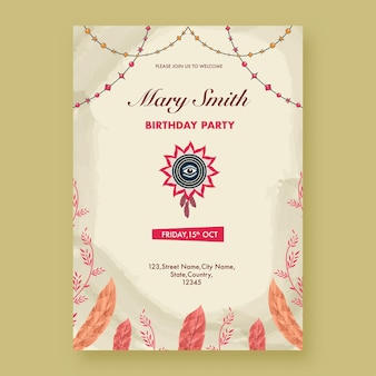 Birthday party invitation template layout with event details in boho style.