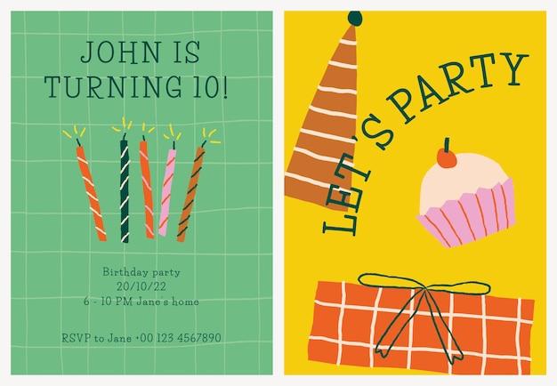 Vettore del modello dell'invito della festa di compleanno con i doodles carini