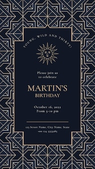 Birthday party invitation template with gold art deco style