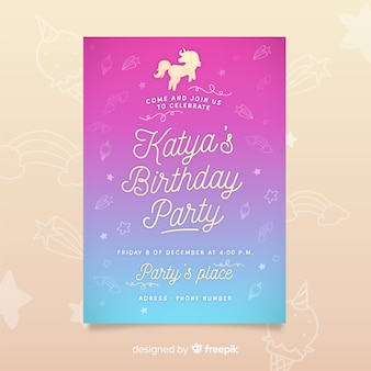 Birthday party invitation template with unicorn