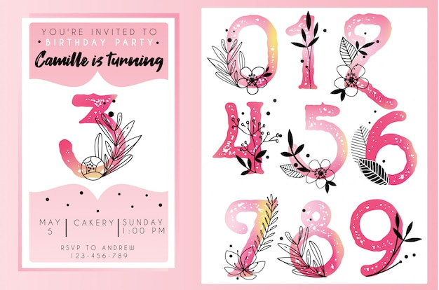 Birthday party invitation template with watercolor numbers