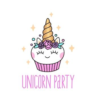 Birthday party invitation with cute unicorn cupcake