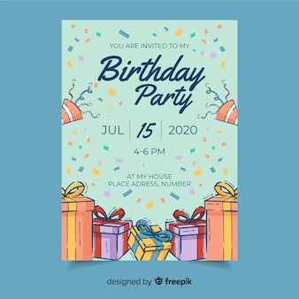 Birthday party invitation with date and time