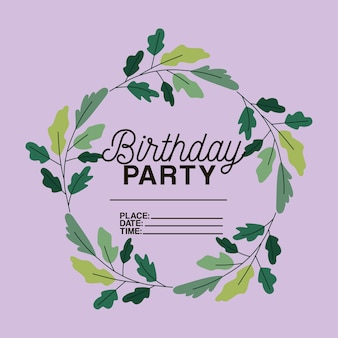 Birthday party invitation with floral crown