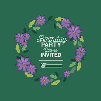 Birthday party invitation with floral decoration