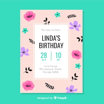Birthday party invitation with floral design