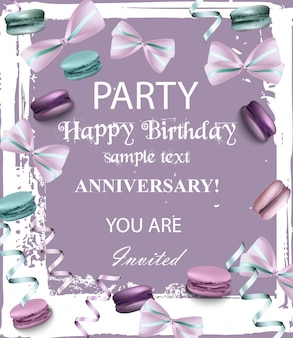 Birthday party invitation with flowers and macaroons