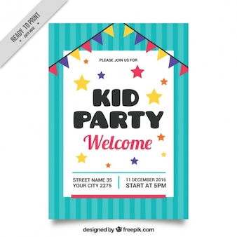 Birthday party invitation with stars and garland