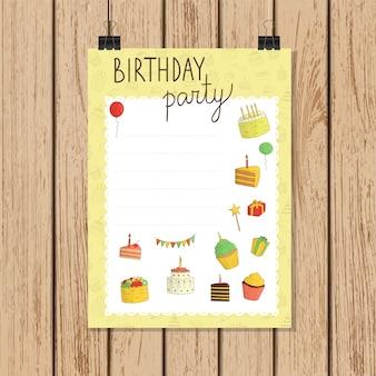 낙서 스타일의 생일 파티 invitatior 배너입니다. 케이크 illustrationlight 갈색 나무. 나무 판에
